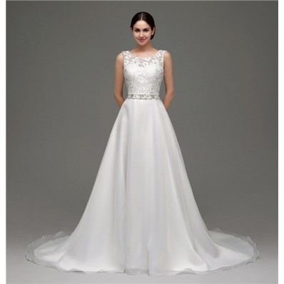 A Line Bateau Neck Low Back Organza Lace Wedding Dress With Belt