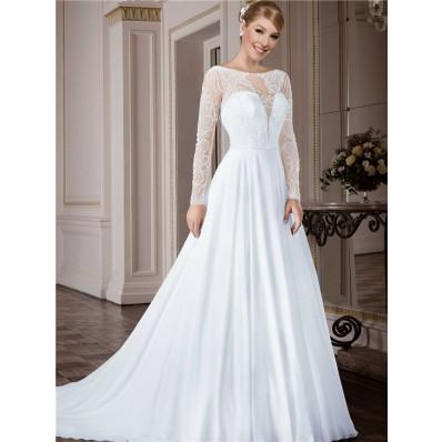 A Line Bateau Neckline Open Back Long Sleeve Tulle Beaded Wedding Dress