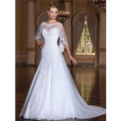 A Line Bateau Neckline Sleeveless Tulle Lace Wedding Dress With Wrap