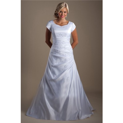 A Line Cap Sleeve Ruched Taffeta Applique Modest Wedding Dress