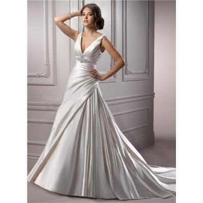 a line deep v neck corset back ivory satin ruched wedding