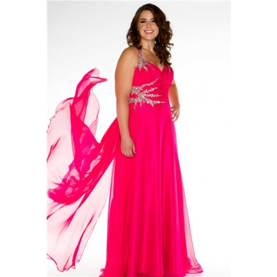 A Line Halter Long Red Chiffon Sparkle Beaded Plus Size Prom Dress