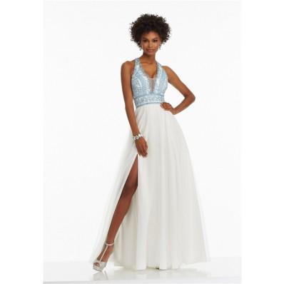 A Line Halter Side Slit White Tulle Light Blue Embroidery Prom Dress
