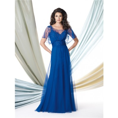 A Line Illusion Bateau Neckline Royal Blue Tulle Beaded Mother Of The Bride Evening Dress