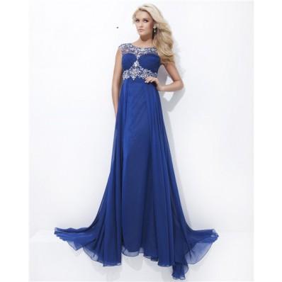 A Line Illusion Neckline Cap Sleeve Long Royal Blue Chiffon Beaded Prom Dress Open Back