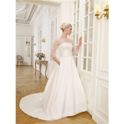 A Line Illusion Neckline Satin Tulle Beaded Pearl Wedding Dress With Sleeves Pockets