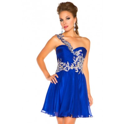 A Line One Shoulder Short Royal Blue Chiffon Beading Cocktail Party Dress