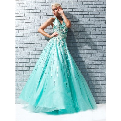 A Line Princess Halter Backless Long Aqua Taffeta Prom Dress With Lace Sequins