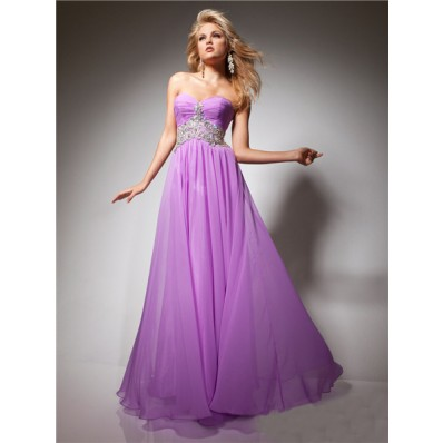 A Line Princess Sweetheart Long Purple Lilac Flowy Chiffon Prom Dress With Beading