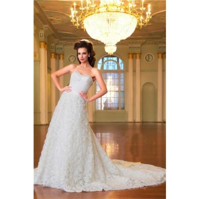 A Line Princess Sweetheart Long Train Floral Bridal Wedding Dress With Sash Bow