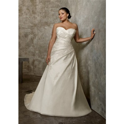 A Line Princess Sweetheart Ruched Taffeta Lace Plus Size Wedding Dress Corset Back