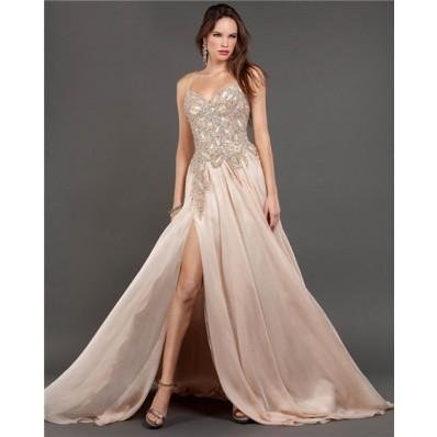 A Line Side Slit Long Light Peach Chiffon Beaded Prom Dress With Spaghetti Straps
