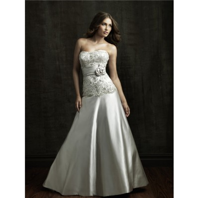 A Line Strapless Dropped Waist Satin Embroidered Beaded Wedding Dress With Flower Sash