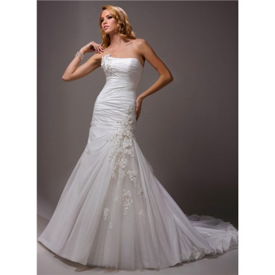 A Line Strapless Ruched Taffeta Tulle Wedding Dress With Flowers Bubble Hem