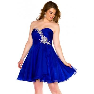 A Line Strapless Short Royal Blue Chiffon Beaded Homecoming Prom Dress