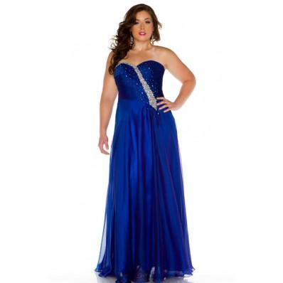 A Line Strapless Sweetheart Long Royal Blue Chiffon Beading Plus Size Evening Prom Dress