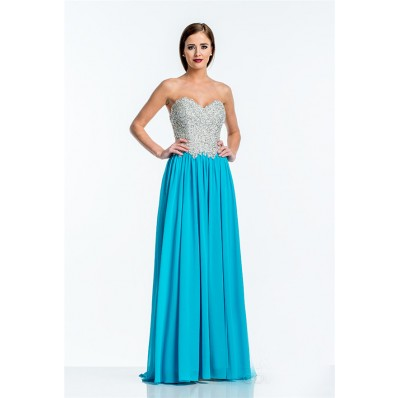A Line Strapless Turquoise Chiffon Sequin Beaded Long Evening Prom Dress