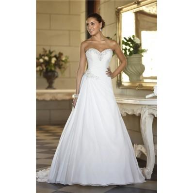 a line sweetheart corset back chiffon beaded wedding dress