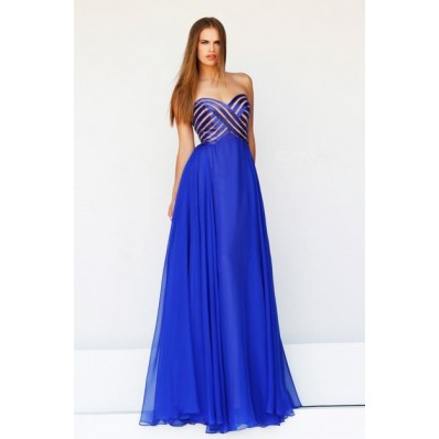 A Line Sweetheart Empire Long Royal Blue Satin Stripe Chiffon Evening Prom Dress