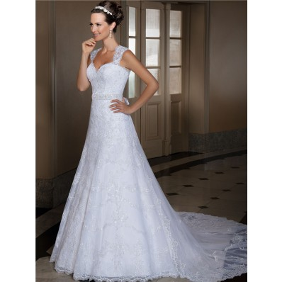 A Line Sweetheart Lace Wedding Dress With Beading Sash Detachable Train