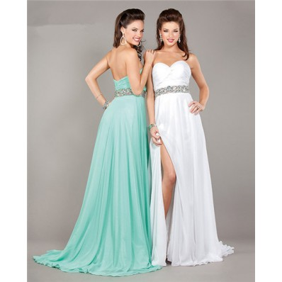 A Line Sweetheart Long White Chiffon Beaded Prom Dress With Slit