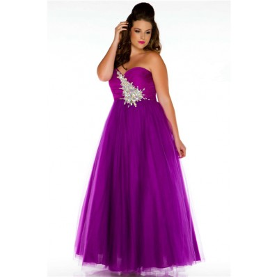 a line sweetheart long purple tulle beaded plus size prom