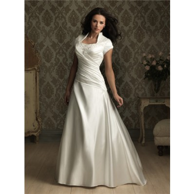 A line square court train cap sleeve silk satin wedding dress