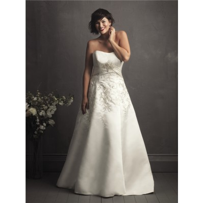 A line sweetheart court train designer royal embroidery wedding dresses for plus size
