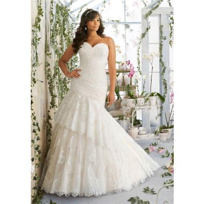 asymmetrical trumpet sweetheart corset back lace ruched