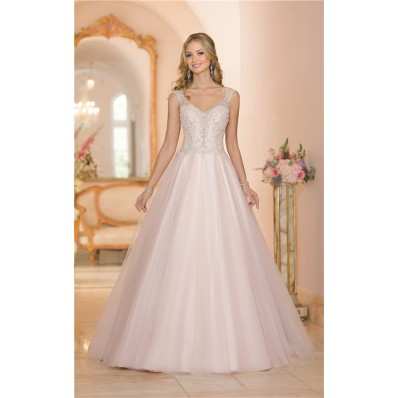 Ball Gown Cap Sleeve Blush Pink Tulle Embroidery Beaded Wedding Dress