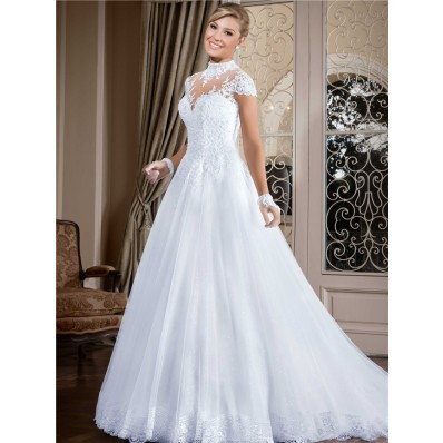 Ball Gown High Neck Cap Sleeve Keyhole Back Lace Tulle Wedding Dress