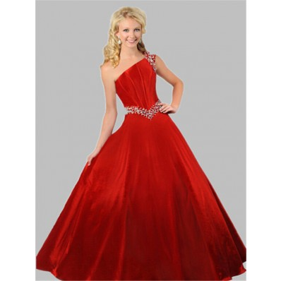 Ball Gown One Shoulder Red Taffeta Beaded Teen Prom Dress