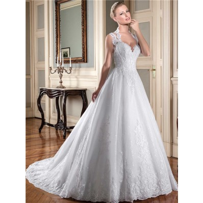 Ball Gown Queen Anne Neckline Sheer Back Lace Tulle Glitter Wedding Dress