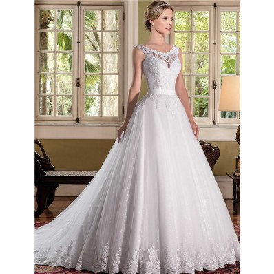 Ball Gown Scoop Neck Sheer Back Lace Tulle Glitter Wedding Dress With Sash