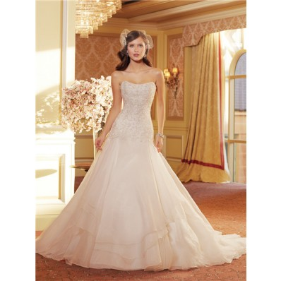 Ball Gown Scooped Strapless Corset Back Layered Organza Lace Wedding Dress With Sparkle