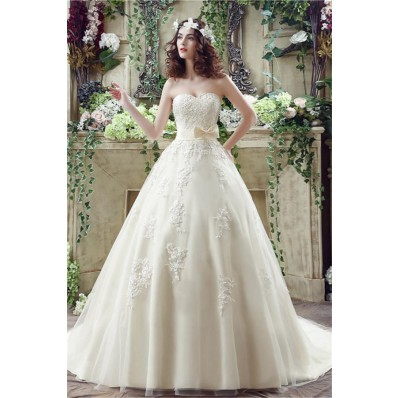 Ball Gown Strapless Corset Back Ivory Tulle Lace Wedding Dress With Bow Sash