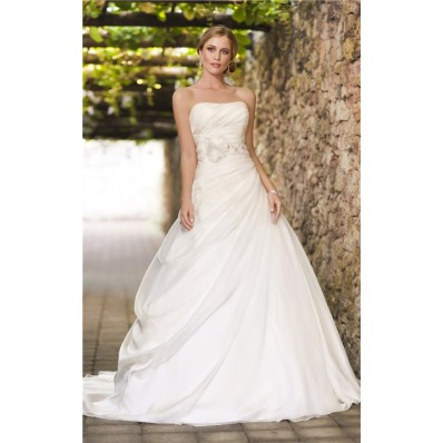 ball gown strapless corset organza draped wedding dress