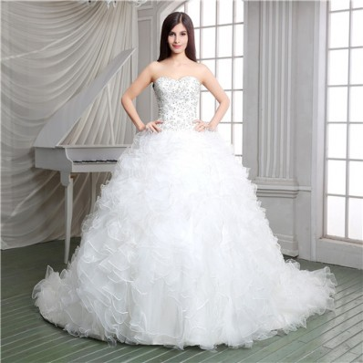Ball Gown Strapless Embroidery Satin Organza Ruffle Corset Wedding Dress