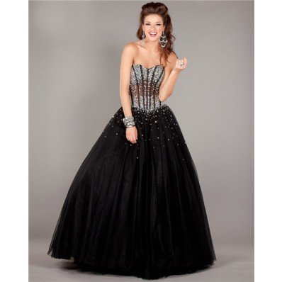 ball gown strapless see through corset black tulle beaded