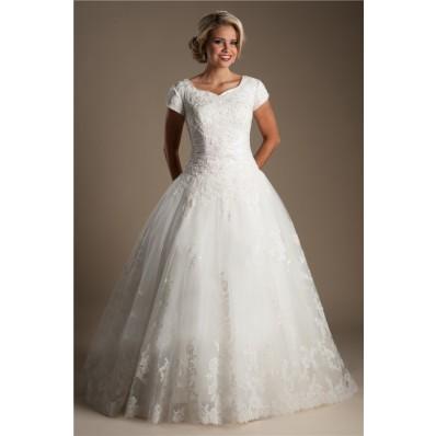 Ball Gown Sweetheart Cap Sleeve Lace Beaded Modest Wedding Dress