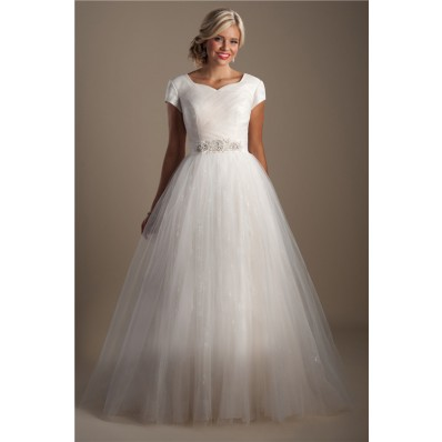 Ball Gown Sweetheart Cap Sleeve Sparkly Tulle Modest Wedding Dress With Sash