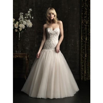 Ball Gown Sweetheart Dropped Waist Champagne Tulle Applique Wedding Dress
