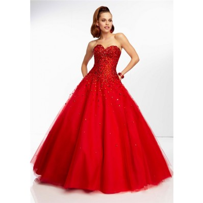 ball gown sweetheart long scarlet red tulle beaded prom