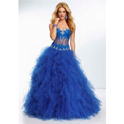 ball gown sweetheart sheer see through corset royal blue