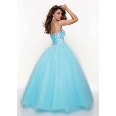 Ball Gown sweetheart floor length blue tulle prom dress with sequins