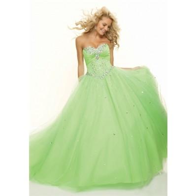 Ball Gown sweetheart floor length light green beaded prom dress