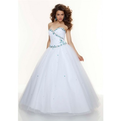 Ball Gown sweetheart floor length white beaded tulle prom dress with corset back