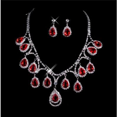 Beautiful ruby Women's Jewelry Set Including Necklace, Earrings