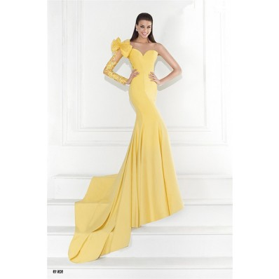 Charming Mermaid One Shoulder Backless Yellow Satin Lace Sleeve Prom Dress