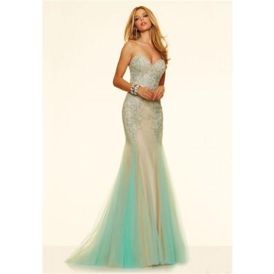 Charming Mermaid Strapless Corset Nude Satin Aqua Tulle Beaded Prom Dress